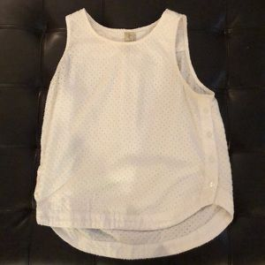 White eyelet tank top with buttons down the side